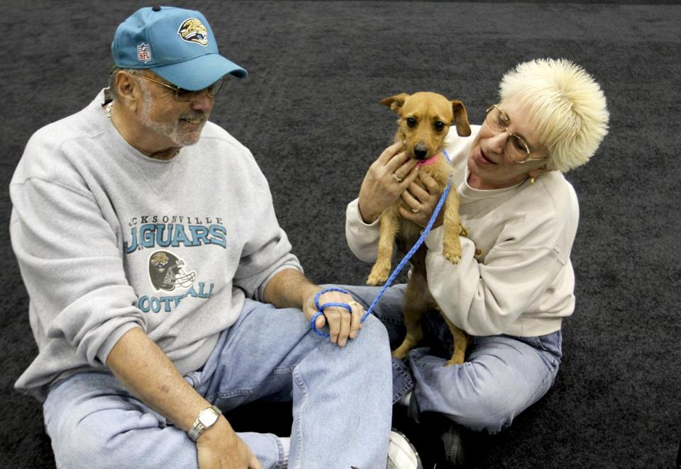 MGM Grand employee Dar Reike and her husband, Rick, with her adopted dog, Alexia. They adopted the dog at a company fair last year but didn't get pet insurance.