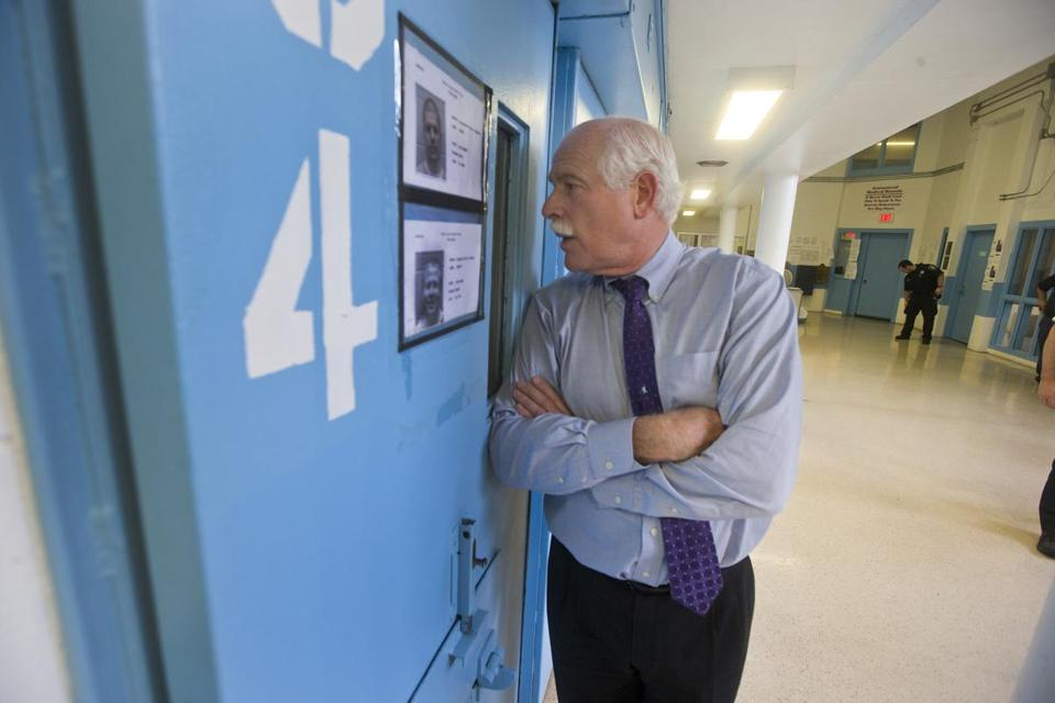 NORTH DARTMOUTH, MA-Bristol County Sheriff Tom Hodgson chats with an inmate at the Bristol County House of Corrections.