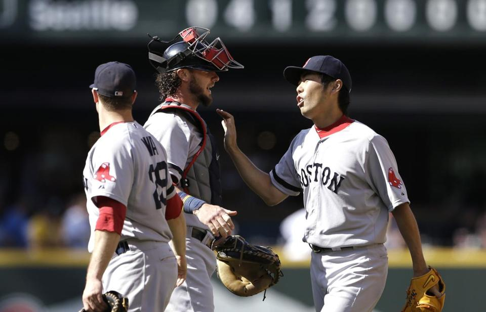 Koji Uehara, right, picked up the save despite missing out on the All-Star team.