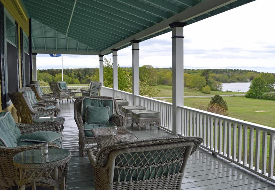 The waterfront porch at the Chebeague Island Inn.
