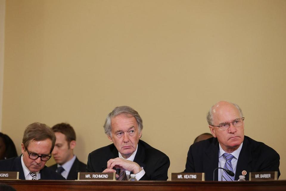 Representative William Keating (right) at a hearing in early May on the Marathon bombings.