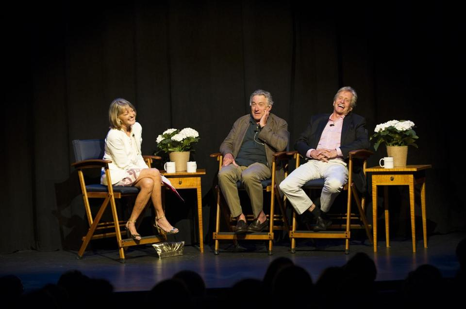 "Rita Braver with Robert De Niro (center) and Michael Douglas at ""Evening With the Stars."""