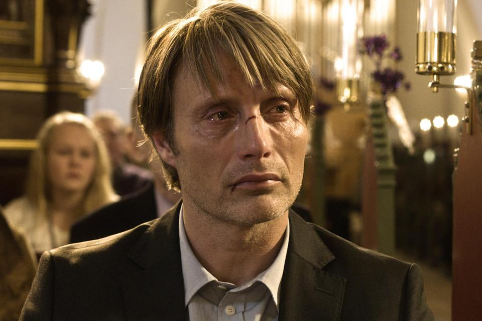 "Mads Mikkelsen stars as a nursery school teacher wrongly accused of pedophilia in ""The Hunt."""