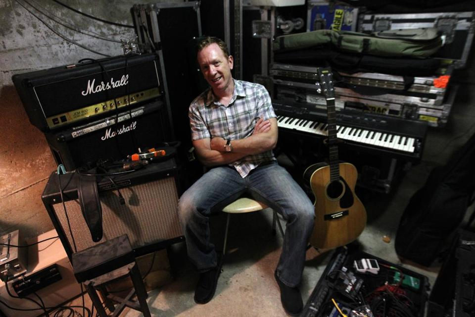 "Bill Janovitz in his home studio, which he has dubbed ""The Bomb Shelter,"" in Lexington. Janovitz has a new solo album coming out, his band, Buffalo Tom, plays Boston Common this week, and he has written a book on the Rolling Stones."