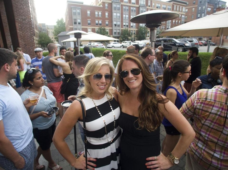 Chelsey Velozo (left) and Alexandra Craig, both of South Boston, at Gaslight Brasserie's party.