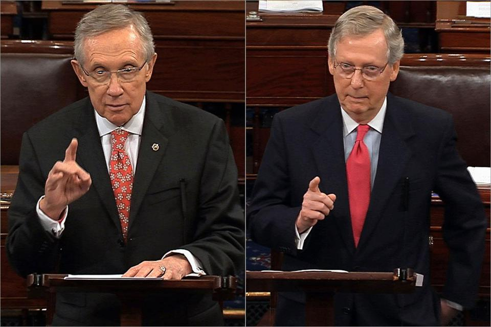 Democratic leader Harry Reid (left) and Republican leader Mitch McConnell
