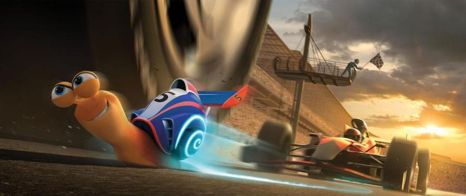 "The title character (voiced by Ryan Reynolds) in a scene from ""Turbo,"" directed by David Soren."