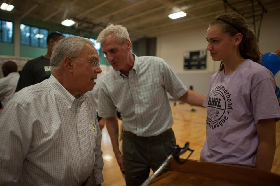 Mayor Thomas Menino talked with Ignatius and Maggie Mulligan at the Boston Neighborhood Basketball League kickoff.