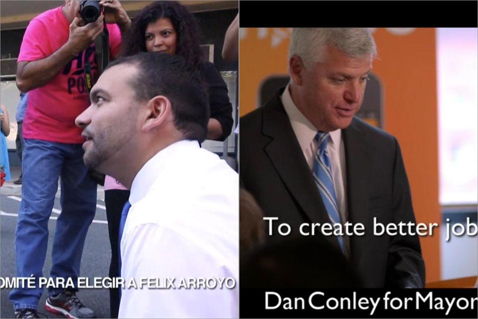 The Suffolk district attorney's ads will be followed Thursday by a commercial buy from Felix G. Arroyo, pictured at left. Conley's campaign looks to keep the focus on the issues.
