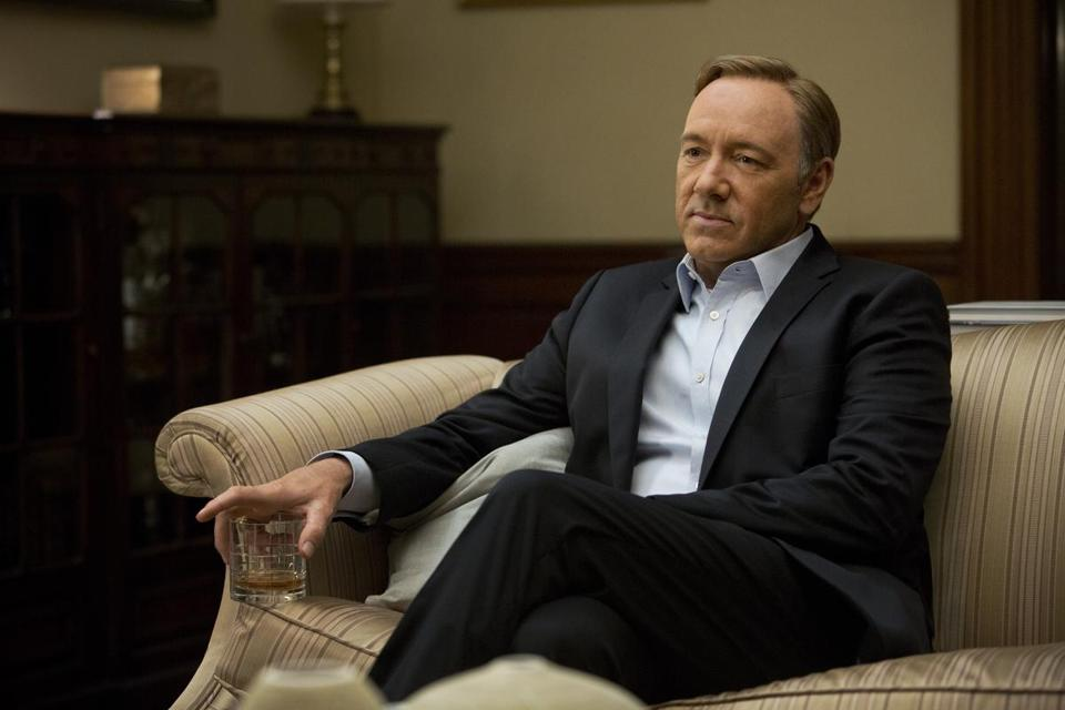 "Kevin Spacey in the Netflix original series ""House of Cards."" The program was nominated for an Emmy Award for outstanding drama series."