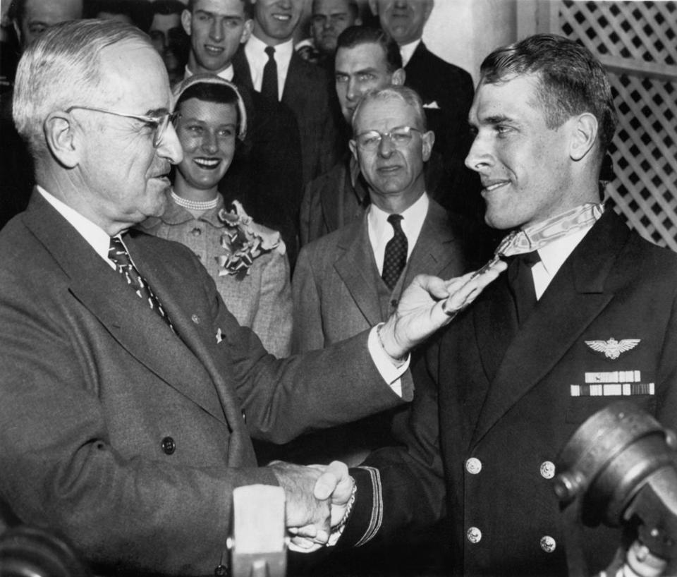 President Harry S. Truman presented Thomas J. Hudner Jr. with the Medal of Honor on April 13, 1951, for his heroics.