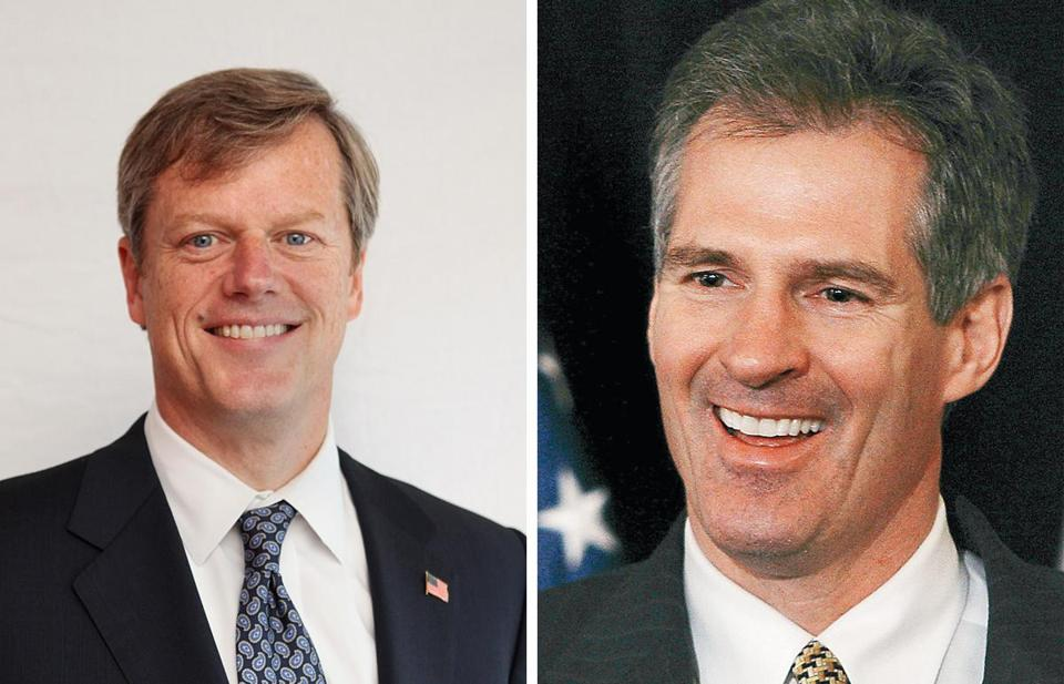 It's not clear if Charles D. Baker (left) or Scott Brown will seek the governorship next year.