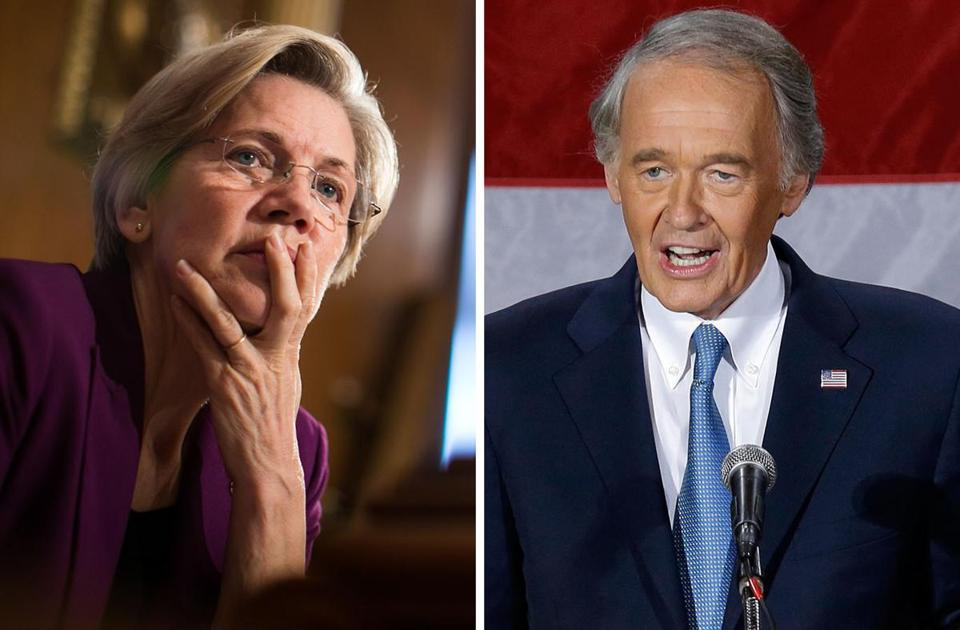 Senator Elizabeth Warren (left) and Senator Edward Markey.