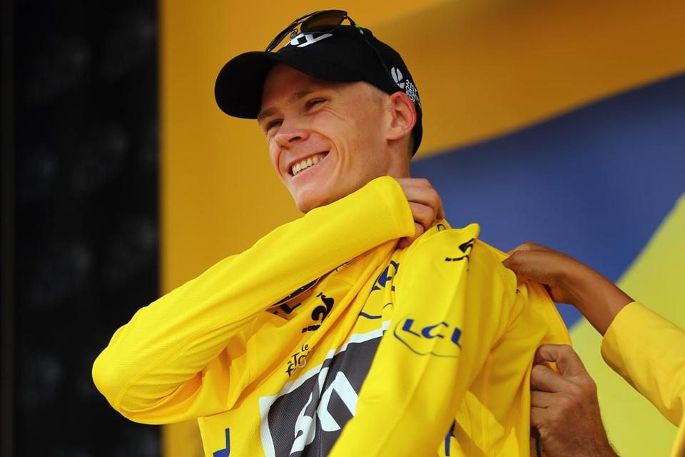 Team Sky's Chris Froome has worn the yellow jersey since he won Stage 8, and finished third in Saturday's stage.
