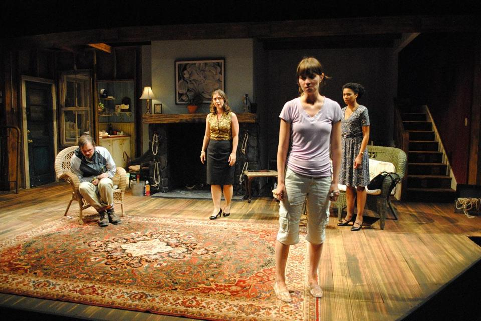 "From left: James McMenamin, Miriam Silverman, Molly Camp, and Kelly McCreary (rear) in ""Extremities.''"