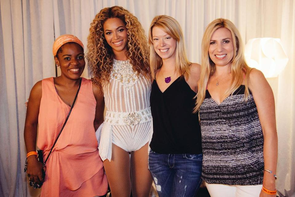 Beyoncé with (from left) Mery Daniel, Adrianne Haslet, and Heather Abbott.
