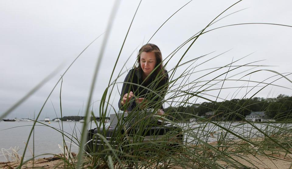 Kenly Hiller worked along the shore at the Waquoit Bay National Estuarine Research Reserve in Falmouth. Hiller is trying to raise $6,000 so she can design and study barriers that block nitrogen runoff from polluting coastal waters.