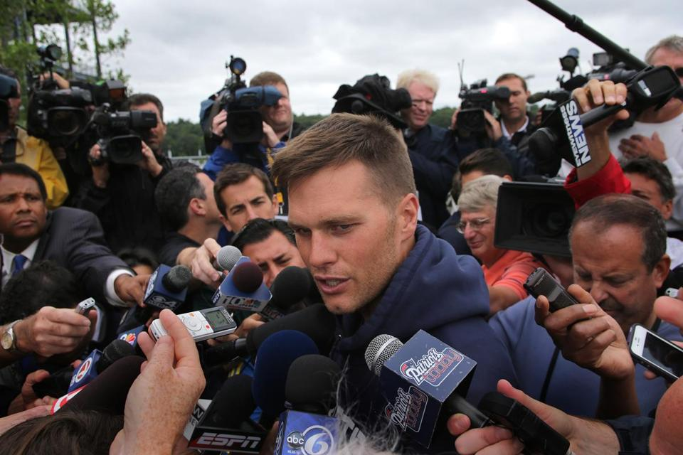 Tom Brady deflected questions about his emotions regarding the Aaron Hernandez murder investigation.
