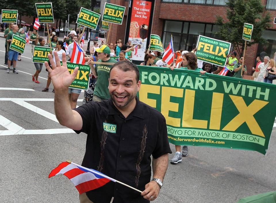 Felix Arroyo was one of the Boston mayoral candidates participating in the annual Puerto Rican parade on July 28.