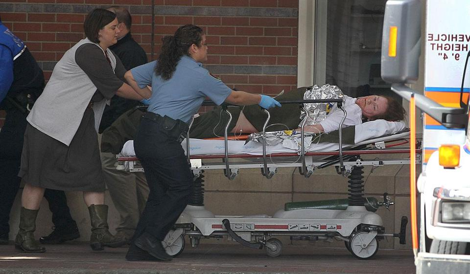 A victim of the Boston Marathon bombing was rushed to Boston Medical Center.