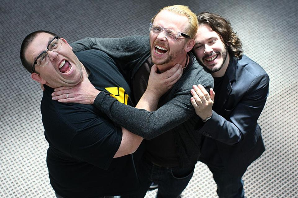 """The World's End"" actors Nick Frost (left) and Simon Pegg  (center) with  director Edgar Wright, at the Liberty Hotel."