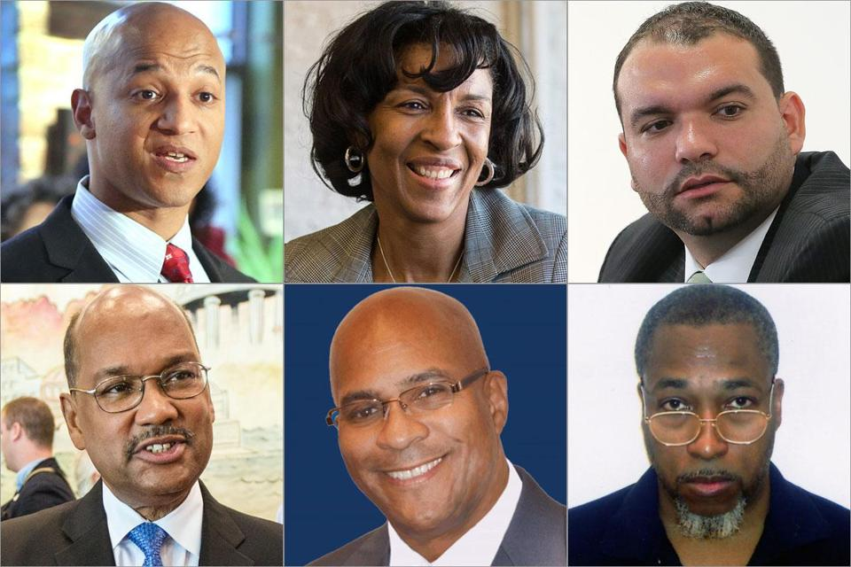 Among the candidates are (clockwise from top left) John Barros, Charlotte Golar Richie, Felix G. Arroyo, David James Wyatt, Charles Clemons, and Charles Yancey. Some fear the diverse ballot might fracture the minority vote rather than unite it behind one candidate.