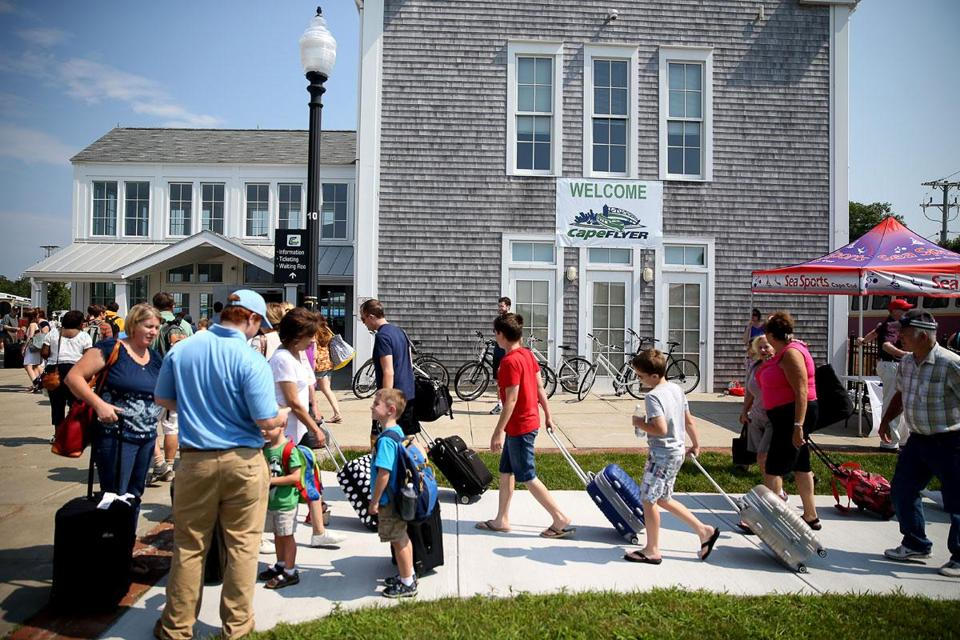 From the Hyannis Transportation Center, many CapeFlyer passengers switch to buses — or to bicycles — to reach their destinations on Cape Cod.