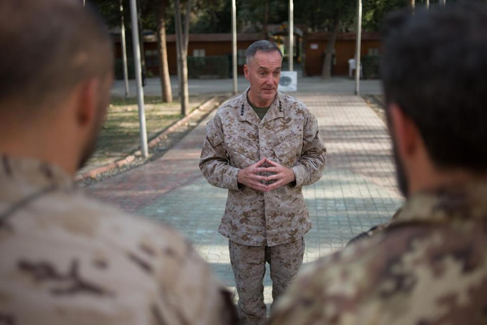 General Joseph F. Dunford spoke to a group of Romanian soldiers in Kabul as they prepared to return home.