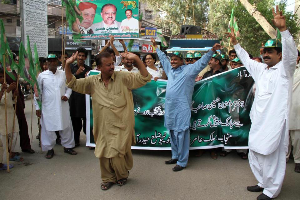 Supporters of the Pakistan Muslim League-N party celebrated Tuesday after lawmakers elected Mamnoon Hussain to the largely ceremonial post of president.