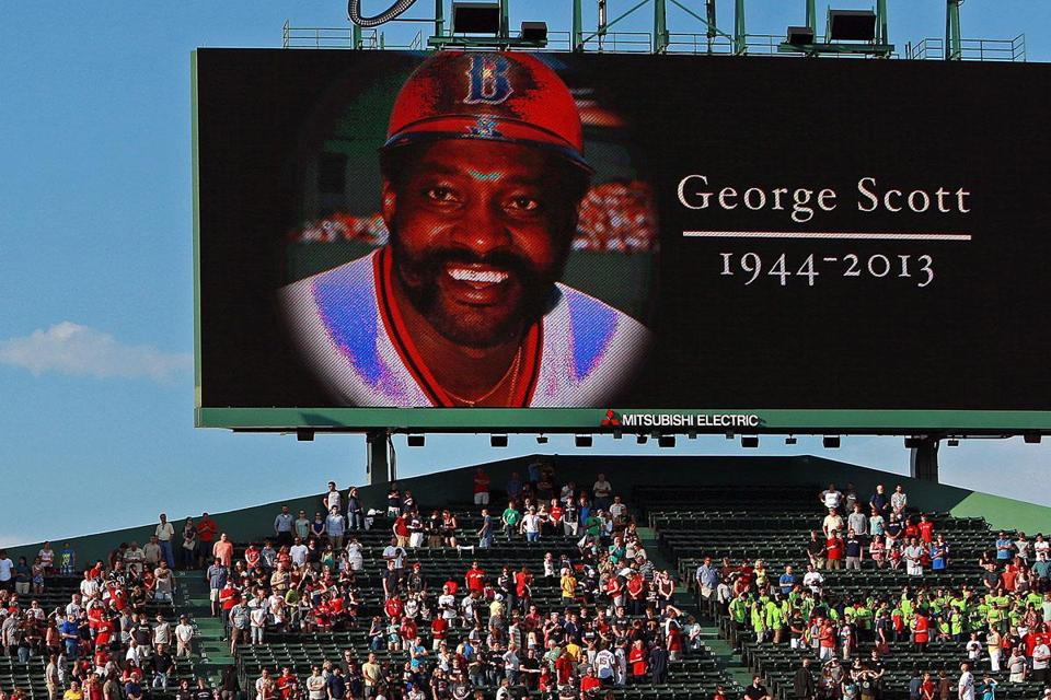 "A moment of silence was held before the game to acknowledge the death of former Sox slugger George ""Boomer"" Scott."