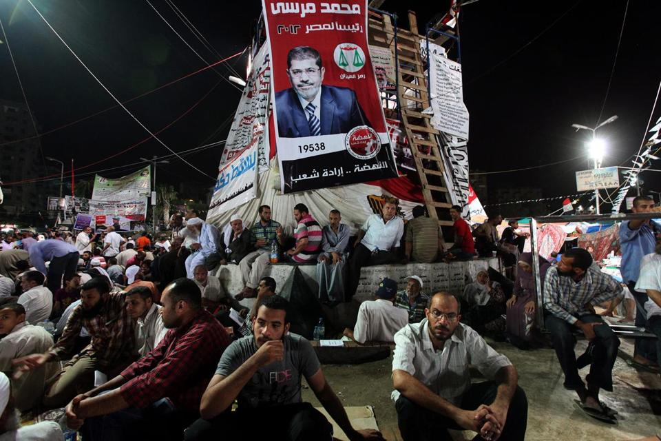 A group of Egyptian Muslims backing ousted President Mohamed Morsi were part of a sit-in near Rabaa Al Adaweya mosque in Cairo. Morsi supporters have been camped out in two large Cairo squares for weeks.