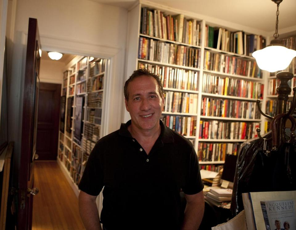 "Joseph Finder (pictured in his Boston office) spent two days on the set of ""Paranoia,"" the latest of his novels to be adapted for the screen."