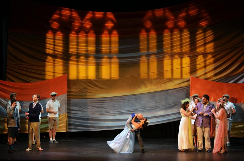"Stephanie Scarcella, as Cenerentola, and Zac Engle, as Prince Ramiro, take center stage in Boston Opera Collaborative's production of Rossini's ""La Cenerentola"" at the Strand Theatre."