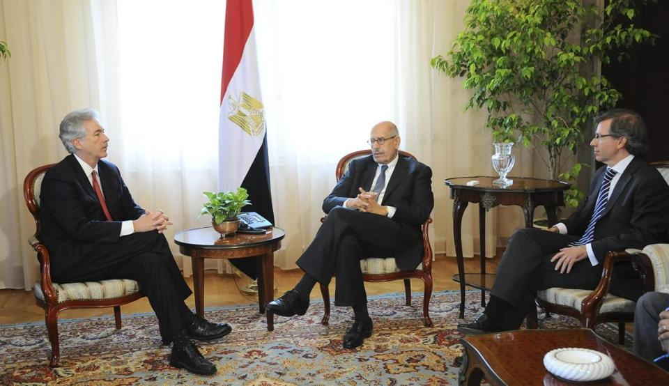 Egypt's interim Vice President Mohamed ElBaradei (center) spoke with US Deputy Secretary of State William Burns (left) during a meeting on Saturday.