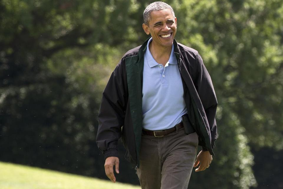 President Obama, who turned 52 on Sunday, smiled after returning to the White House from Camp David.