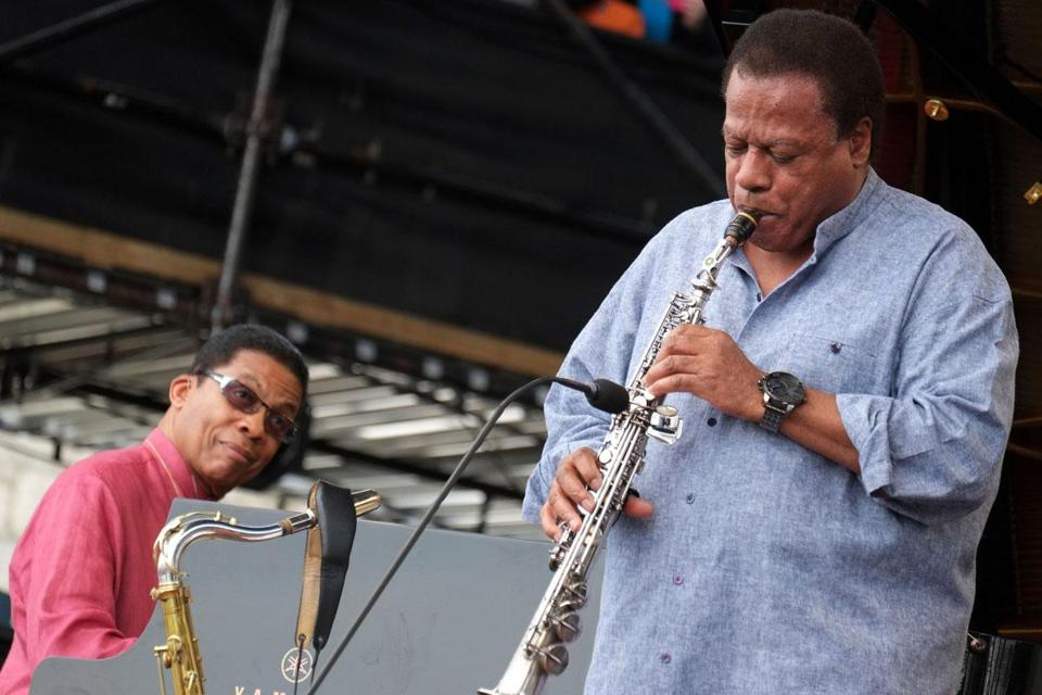 Pianist Herbie Hancock (left) joined Wayne Shorter Saturday, in a set celebrating Shorter's upcoming 80th birthday.