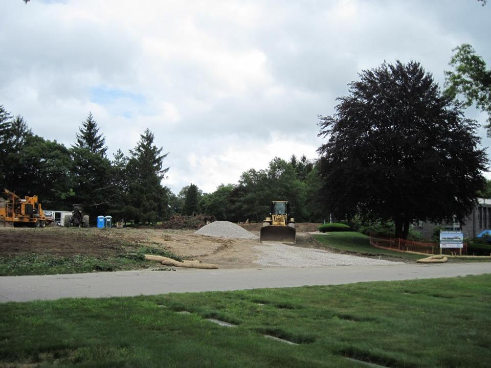 An early stage of the ongoing project to build a new administration building at Sharon Memorial Park.