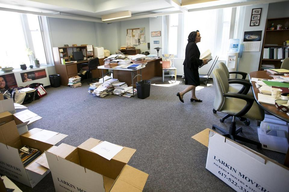 Carol R. Johnson began clearing out and reorganizing her office Wednesday prior to her retirement as school superintendent.