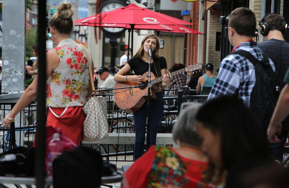 Natalie Quevedo, 18, a Berklee summer student from Rochester, N.Y., performed during an Aug. 8 concert on Boylston Street.