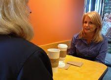 Financial Representative Janice Bogasky, right, enjoyed coffee with attorney Carolyn R. Spring in Westborough.