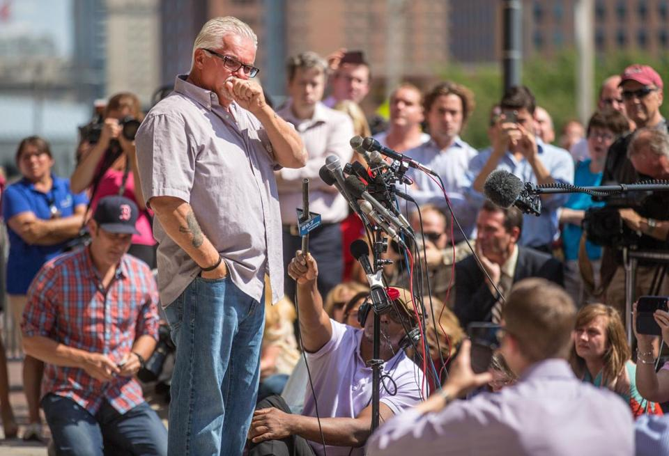 "Steve Davis broke down while speaking to the media after the verdict was read against James ""Whitey"" Bulger in August."