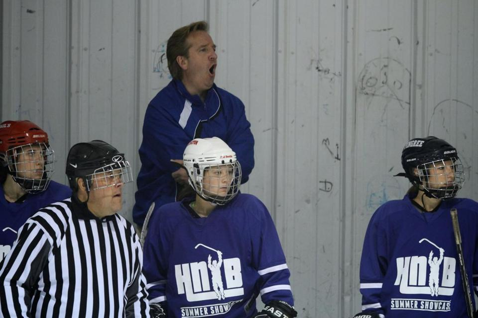 Ray Jacques  coach of TeamONE, reacts to a call during the second period of the championship game in Haverhill.