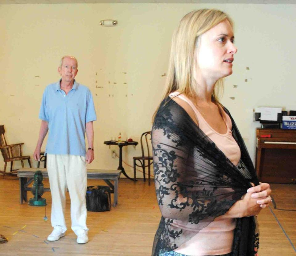 "Top: Jonathan Hogan and Rebecca Booksher rehearse a scene from ""Anna Christie,"" a Berkshire Theatre Group production being directed by David Auburn (above)."