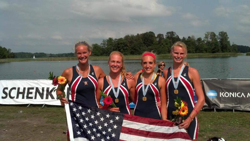 The US fours crew — (from left) Eliza Spilsbury, Sylvie Sallquist, Caroline Hart, and Galen Hughes — beam after  beating Germany for gold at the World Junior competition.