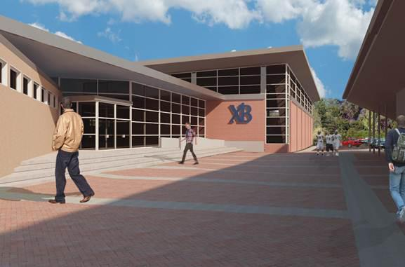 A rendering of the outside of Xaverian Brothers High School in Westwood, after the renovations are complete.