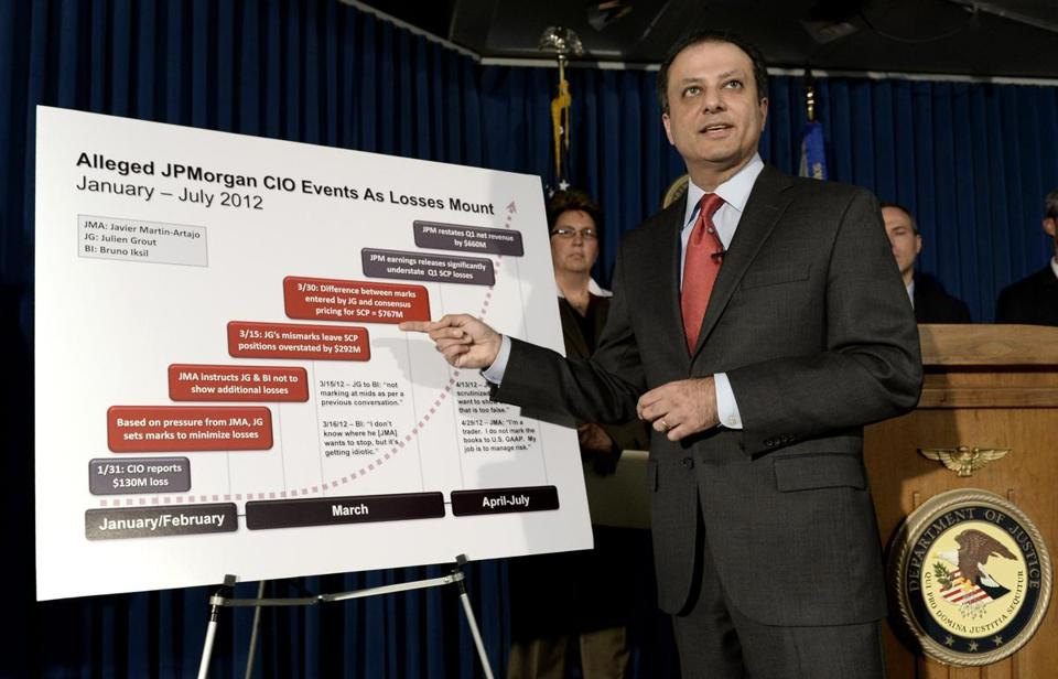 US Attorney Preet Bharara announced the charges against two JPMorgan Chase traders who are accused of conspiring to hide more than half a billion dollars in losses.