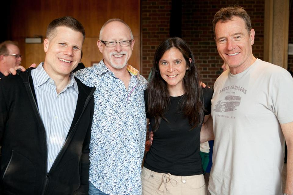 "From left: ""All The Way'' director Bill Rauch, playwright Robert Schenkkan, American Repertory Theater artistic director Diane Paulus, and actor Bryan Cranston."