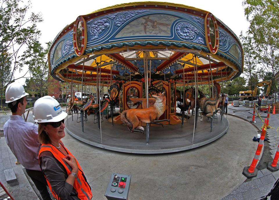 The carousel on the Rose Fitzgerald Kennedy Greenway.