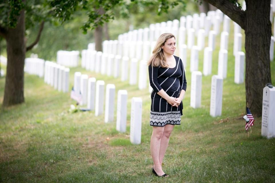 Karen Yianopoulos stood where a headstone will be placed for her uncle at Arlington National Cemetery in Virginia.
