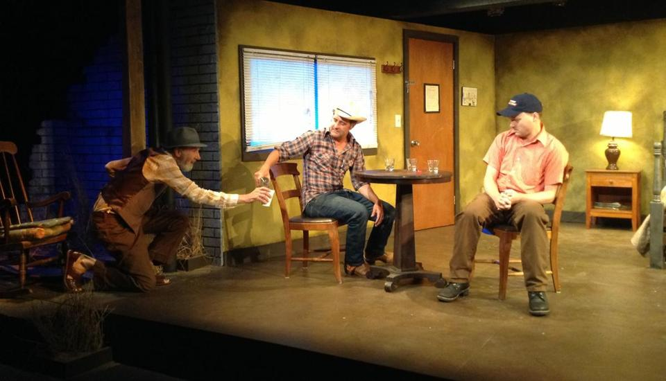 "From left: Tom Brogan, Robert Kropf, Jonathan Fielding in Harbor Stage Company's production of ""Fool for Love."""